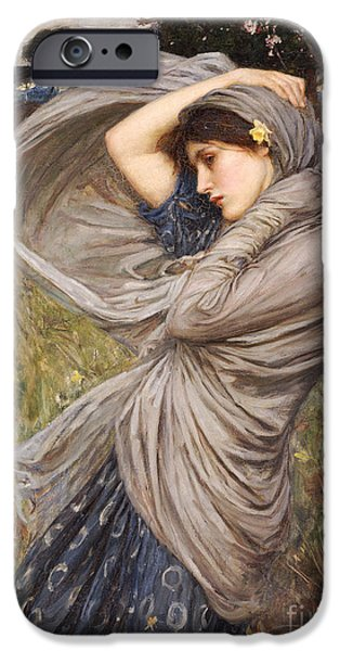 Pre-raphaelites iPhone Cases - Boreas iPhone Case by John William Waterhouse