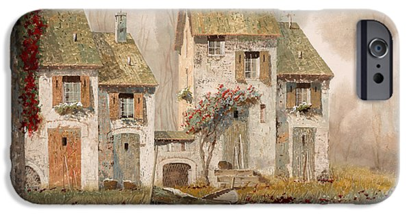 Mist Paintings iPhone Cases - Borgo Nebbioso iPhone Case by Guido Borelli