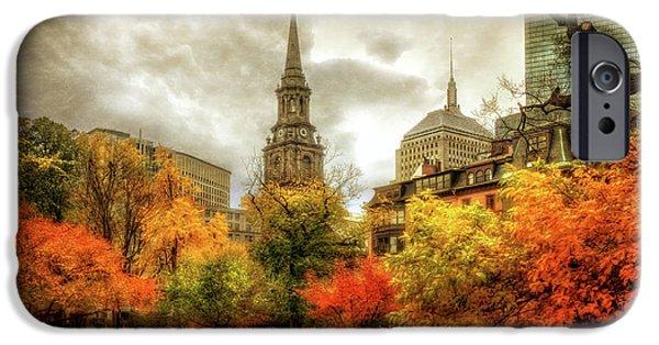 Boston Fall Scenes iPhone Cases - Boston Autumn Splendor iPhone Case by Joann Vitali