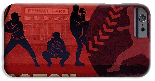 Boston Mixed Media iPhone Cases - Boston Baseball Team City Sports Art iPhone Case by Design Turnpike