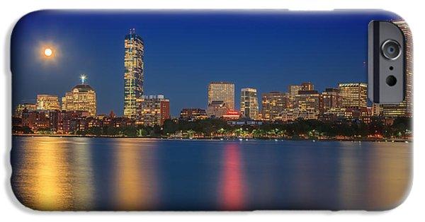 City. Boston iPhone Cases - Boston Blue Moon Skyline iPhone Case by Sylvia J Zarco