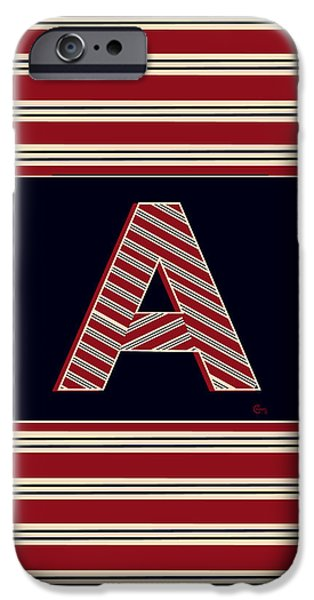 Bosox iPhone Cases - 1920s BOSTON BROOKLINER MONOGRAM initial  A iPhone Case by Cecely Bloom
