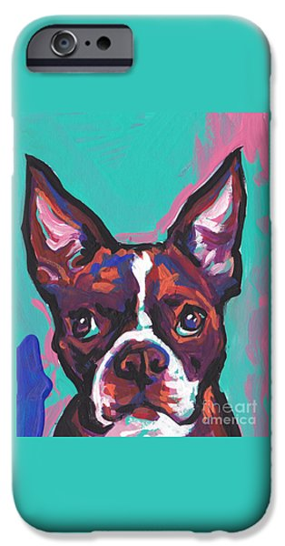 Terrier Art iPhone Cases - Boston Brown iPhone Case by Lea
