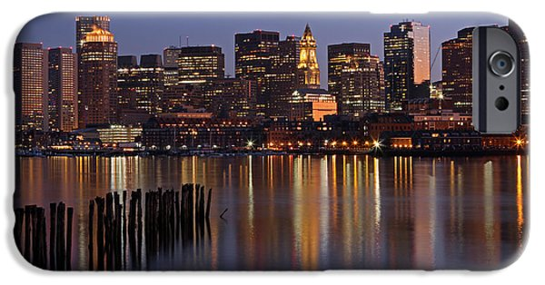 Custom House Tower iPhone Cases - Boston By Night iPhone Case by Juergen Roth