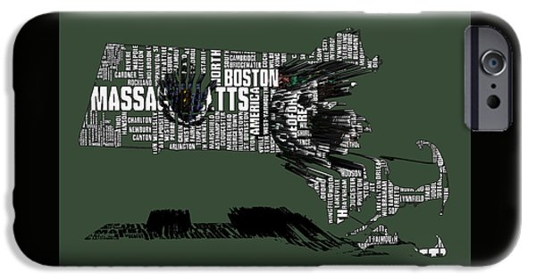 Massachusetts State Flag Digital iPhone Cases - Boston Celtics Typographic Map 3a iPhone Case by Brian Reaves