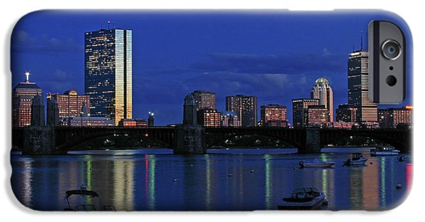 City. Boston iPhone Cases - Boston City Lights iPhone Case by Juergen Roth