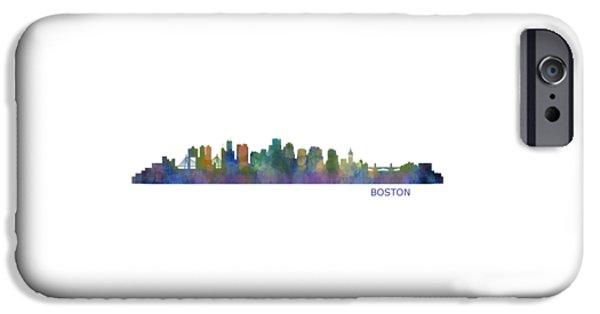 City. Boston iPhone Cases - Boston City Skyline Hq V1 iPhone Case by HQ Photo