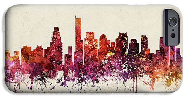Boston Skyline iPhone Cases - Boston Cityscape 09 iPhone Case by Aged Pixel