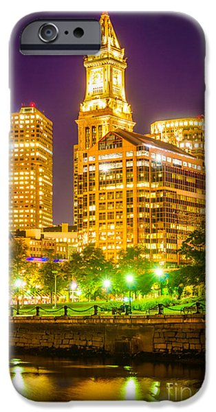 Custom House Tower iPhone Cases - Boston Cityscape at Night iPhone Case by Paul Velgos