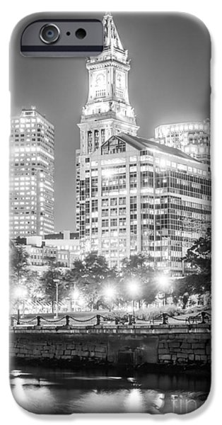 Custom House Tower iPhone Cases - Boston Cityscape Black and White Photo iPhone Case by Paul Velgos