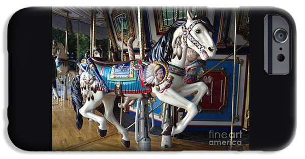 Figure iPhone Cases - Boston Common Carousel Horse iPhone Case by Gina Sullivan