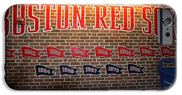 Fenway Park iPhone Cases - Boston Fenway Park Championship Mural iPhone Case by Juergen Roth