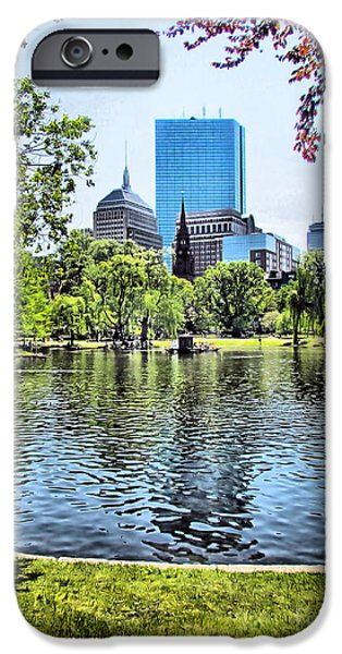 Boston iPhone Cases - Boston Public Garden and Hancock Tower iPhone Case by Elizabeth Dow
