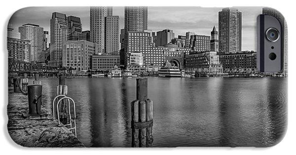 Boston iPhone Cases - Boston Habor Sunrise BW iPhone Case by Susan Candelario