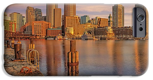 Sky iPhone Cases - Boston Habor Sunrise iPhone Case by Susan Candelario