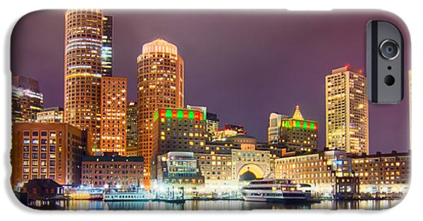Tea Party iPhone Cases - Boston Harbor and Financial District at twilight in Boston iPhone Case by Alexandr Grichenko