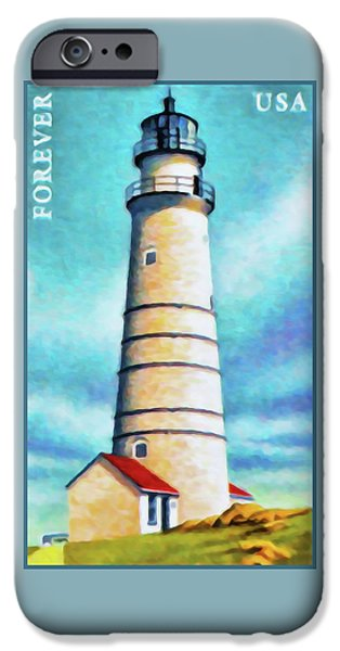 Boston Ma Paintings iPhone Cases - Boston Harbor Ma lighthouse iPhone Case by Lanjee Chee