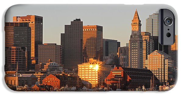 City. Boston iPhone Cases - Boston Harbor Morning Bliss iPhone Case by Juergen Roth