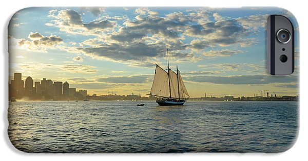 Boston Ma iPhone Cases - Boston Harbor Sailboat Boston MA iPhone Case by Toby McGuire