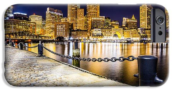 Boston Harbor iPhone Cases - Boston Harbor Skyline at Night Picture iPhone Case by Paul Velgos