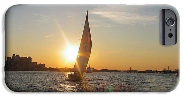 City. Boston iPhone Cases - Boston Harbor Sunset iPhone Case by Laura Lee Zanghetti