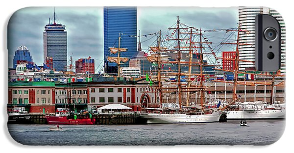 Tall Ship iPhone Cases - Boston Harbor Tall Ships iPhone Case by Larry  Richardson