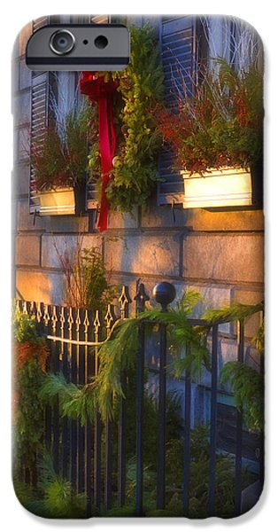 Christmas Greeting iPhone Cases - Boston Holiday Doorstep iPhone Case by Joann Vitali