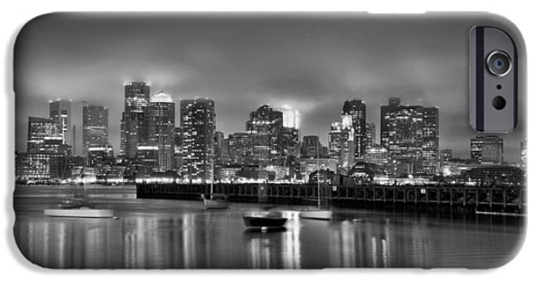 Boston Ma iPhone Cases - Boston in Black and White iPhone Case by Brendan Reals