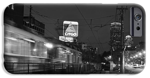 Boston Ma iPhone Cases - Boston MA Green Line train on the move black and white iPhone Case by Toby McGuire