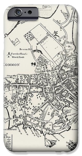 BOSTON MAP, 1722 iPhone Case by Granger