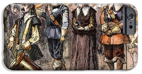 Quaker iPhone Cases - Boston: Mary Dyer, 1660 iPhone Case by Granger