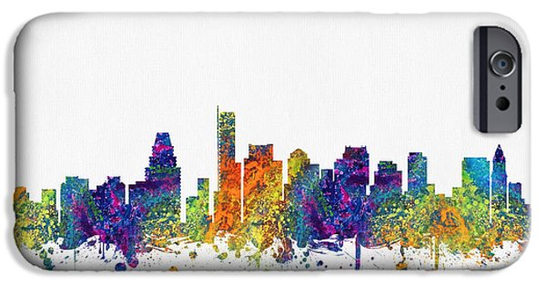 Boston Cityscape iPhone Cases - Boston Massachusetts skyline color03 iPhone Case by Aged Pixel