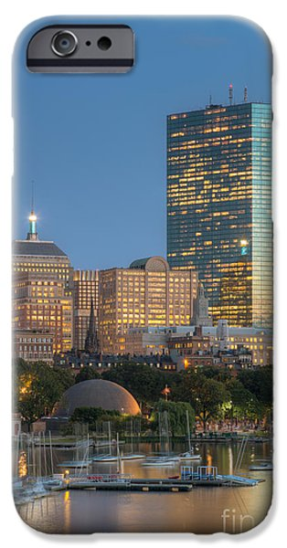 Charles River iPhone Cases - Boston Night Skyline IV iPhone Case by Clarence Holmes