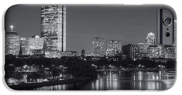 Boston Charles River iPhone Cases - Boston Night Skyline V iPhone Case by Clarence Holmes