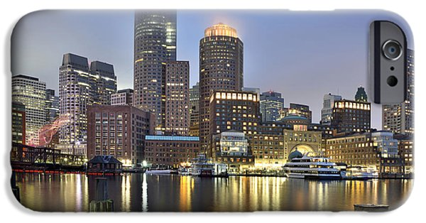 Boston Ma iPhone Cases - Boston on a foggy evening iPhone Case by Brendan Reals