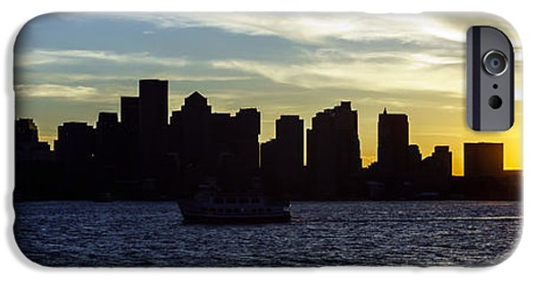 City. Boston iPhone Cases - Boston Panoramic Skyline Sunset Picture iPhone Case by Paul Velgos