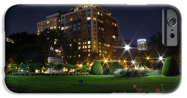 Boston Ma iPhone Cases - Boston Public Garden at Night iPhone Case by Nick Cosky