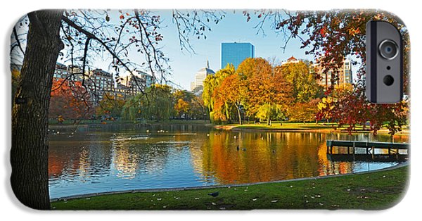 Oxford. Oxford Ma. Massachusetts iPhone Cases - Boston Public Garden Autumn Hancock iPhone Case by Toby McGuire