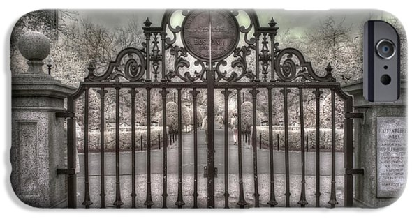 Boston iPhone Cases - Boston Public Garden - Black and White iPhone Case by Joann Vitali