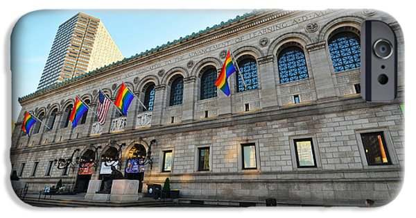 Boston Ma iPhone Cases - Boston Public Library Gay Pride Flags iPhone Case by Toby McGuire