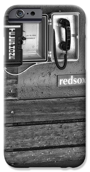 Red Sox iPhone Cases - Boston Red Sox Dugout Telephone BW iPhone Case by Susan Candelario