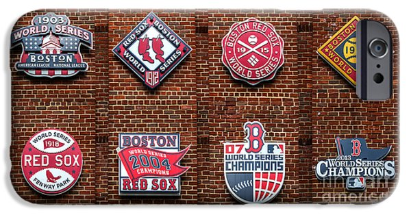 Red Sox Red Sox iPhone Cases - Boston Red Sox World Series Emblems iPhone Case by Diane Diederich