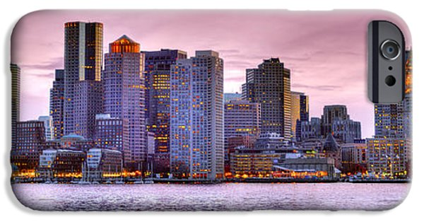 Charles River iPhone Cases - Boston Skyline at DUSK Color Panorama Pano iPhone Case by Jon Holiday