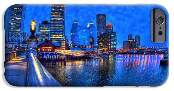 Night Lamp iPhone Cases - Boston Skyline at Night and Tea Party Museum in Fort Point CHannel iPhone Case by Joann Vitali