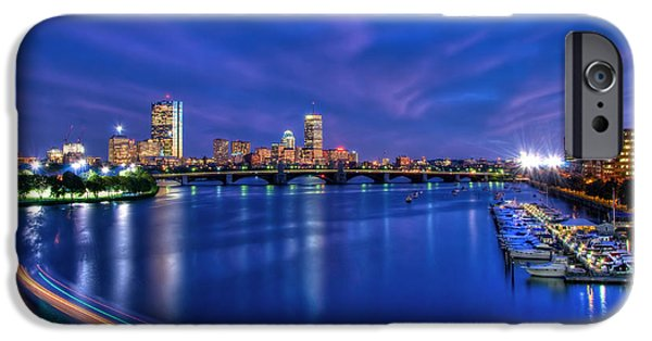 Fenway Park iPhone Cases - Boston Skyline at Night iPhone Case by Joann Vitali