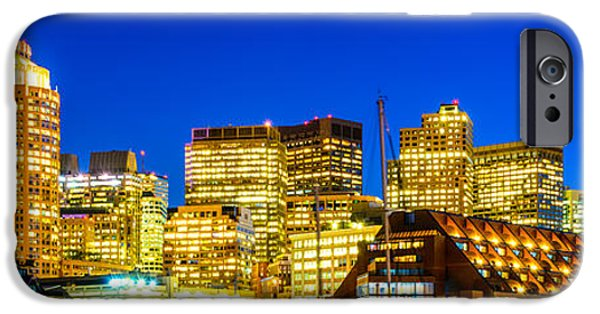 City. Boston iPhone Cases - Boston Skyline at Night Panorama iPhone Case by Paul Velgos