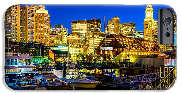 City. Boston iPhone Cases - Boston Skyline at Night iPhone Case by Paul Velgos