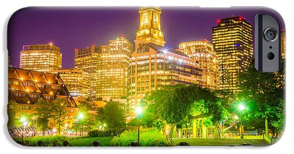 Custom House Tower iPhone Cases - Boston Skyline at Night with Christopher Columbus Park iPhone Case by Paul Velgos