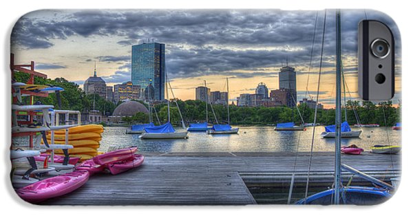 River iPhone Cases - Boston Skyline at Sunset iPhone Case by Joann Vitali