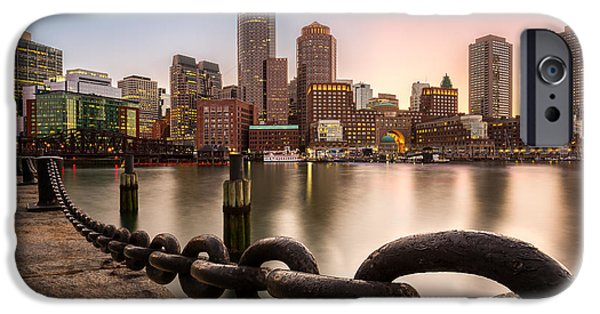 City. Boston iPhone Cases - Boston Skyline at sunset iPhone Case by Mihai Andritoiu
